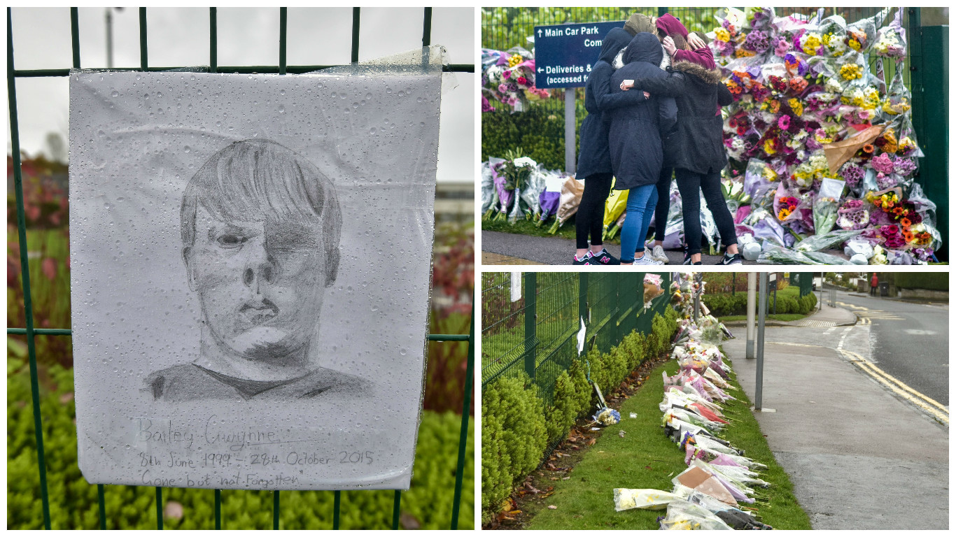 Bailey's school mates, teachers and the wider community have paid tribute to the youngster outside Cults Academy