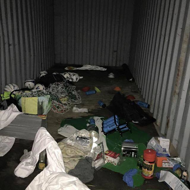 The mess left behind by vandals at Beauly FC
