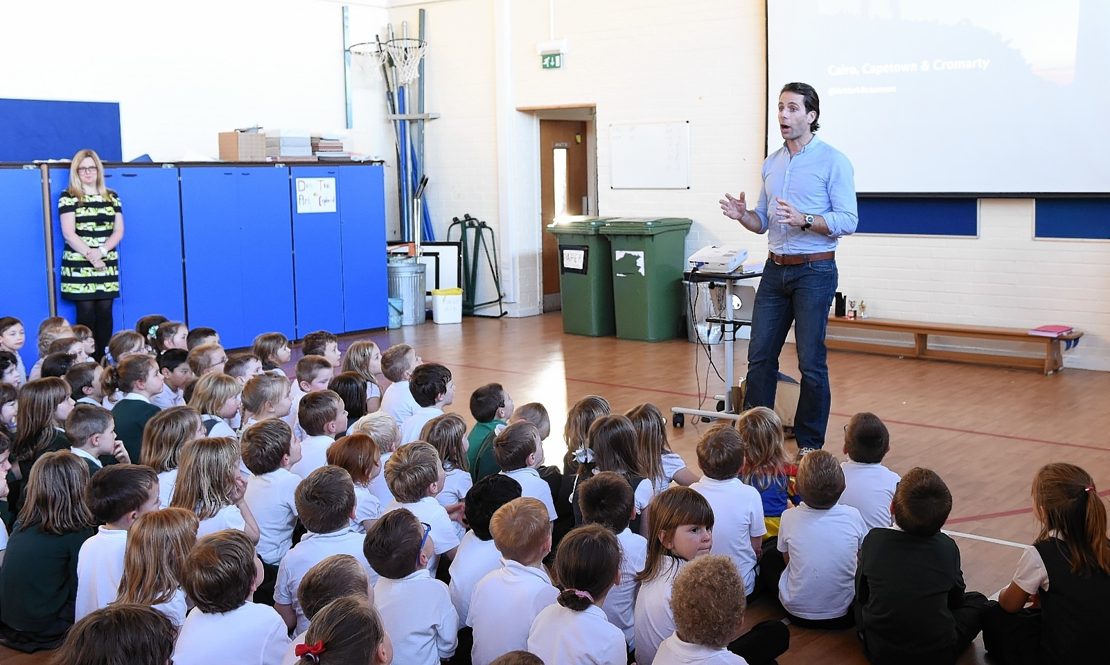 Long distance cyclist Mark Beaumont gives an inspirational talk to pupils at Gordon Primary School, Huntly.