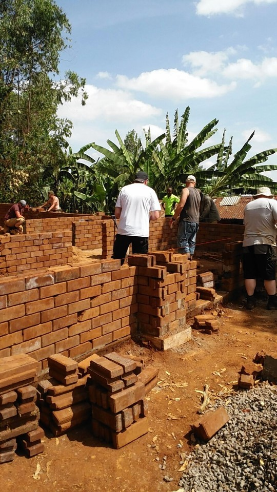 The builders in action in Kenya