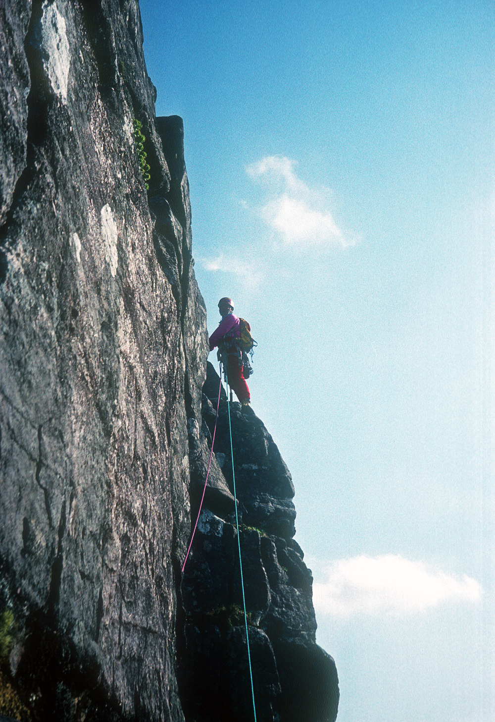 Chris Bonington on First Buttress on Suilven in 1990