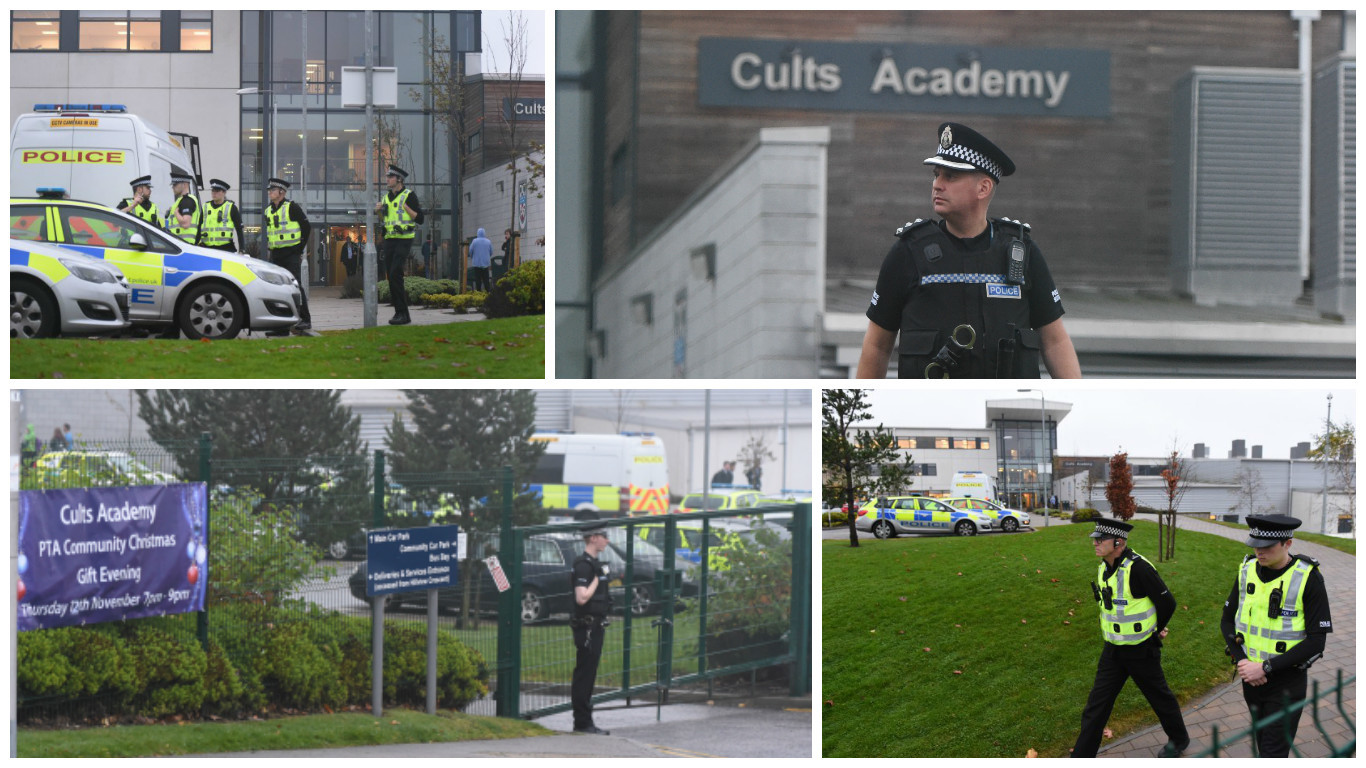 Police officers outside Cults Academy this afternoon. Pictures by Kami Thomson