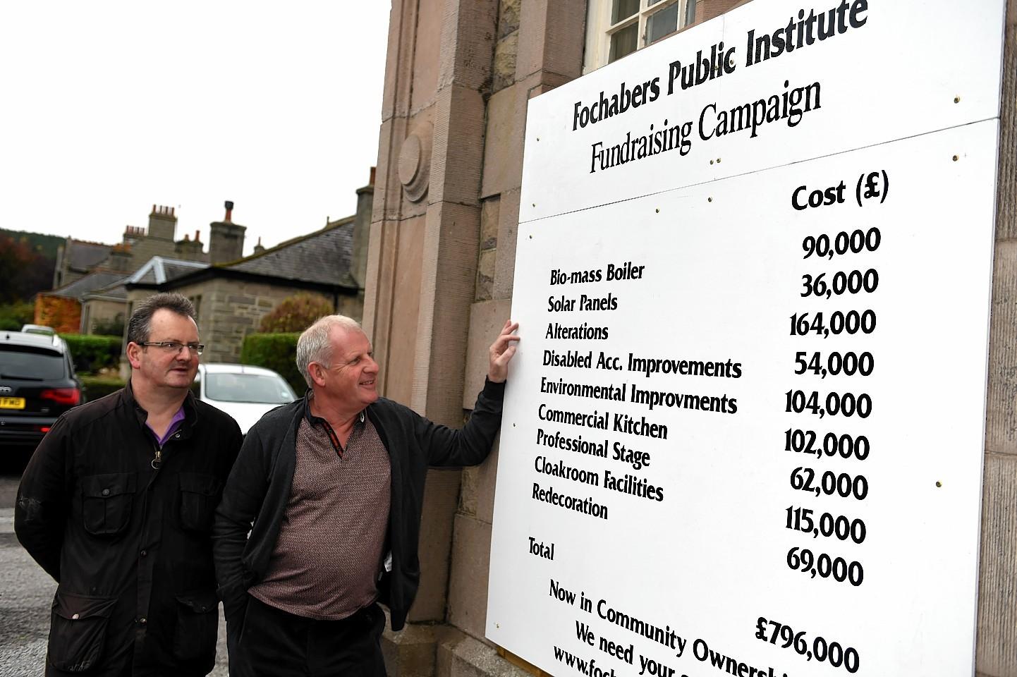 Treasurer, Iain Rennie, left, and chairman, Gordon Christie, right, of the Fochabers Village Association
