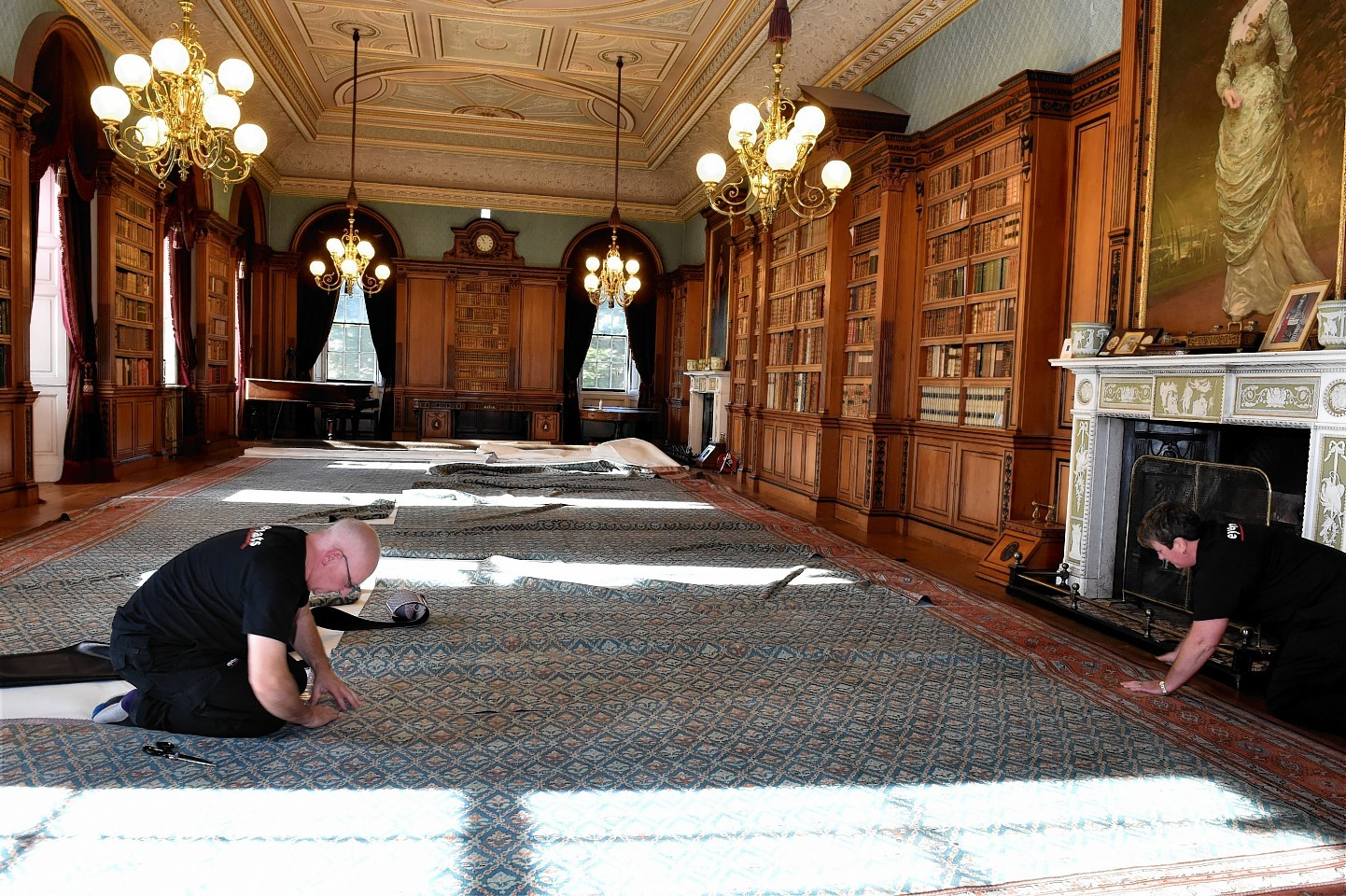 The new carpet laid at Haddo House. Picture by Colin Rennie
