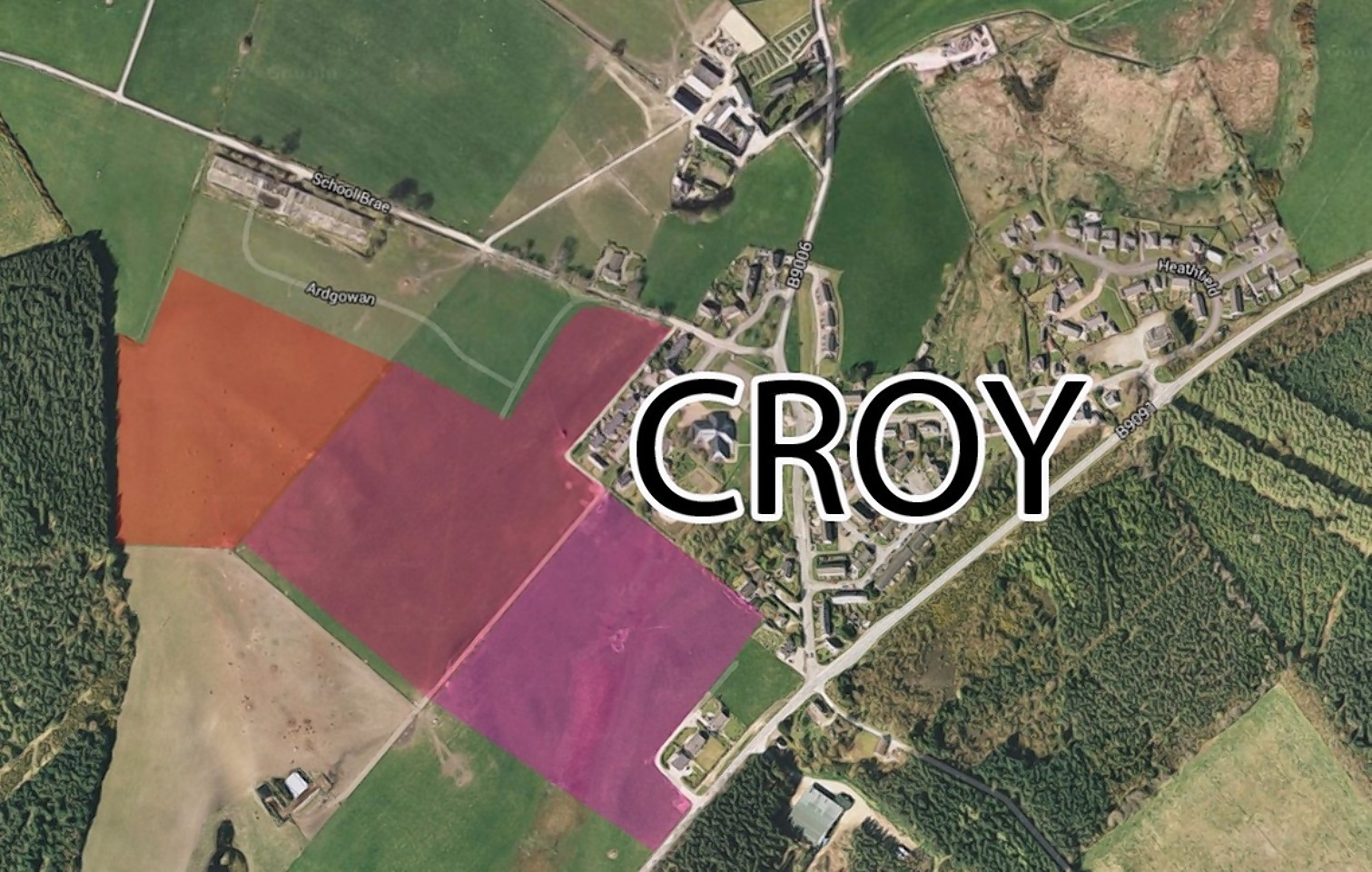 Map of the housing plans for Croy