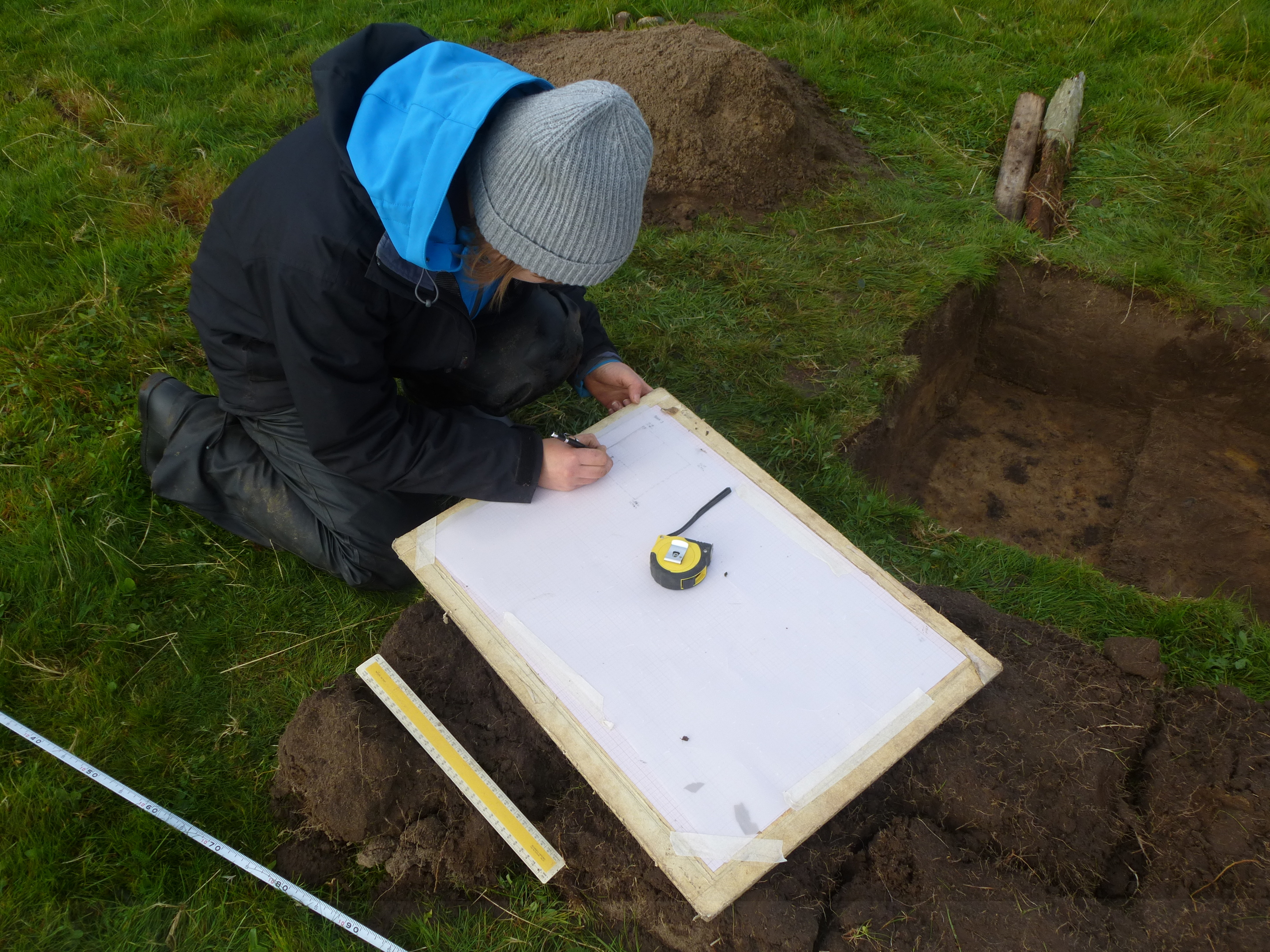 An archaeologist at the dig on the Isle of Coll