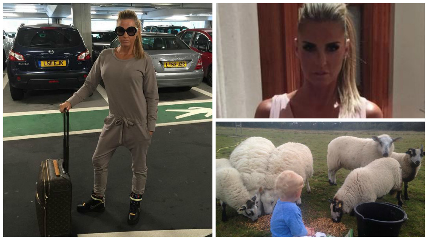 Katie Price at Aberdeen Airport, heading out in Aberdeen and visiting some sheep