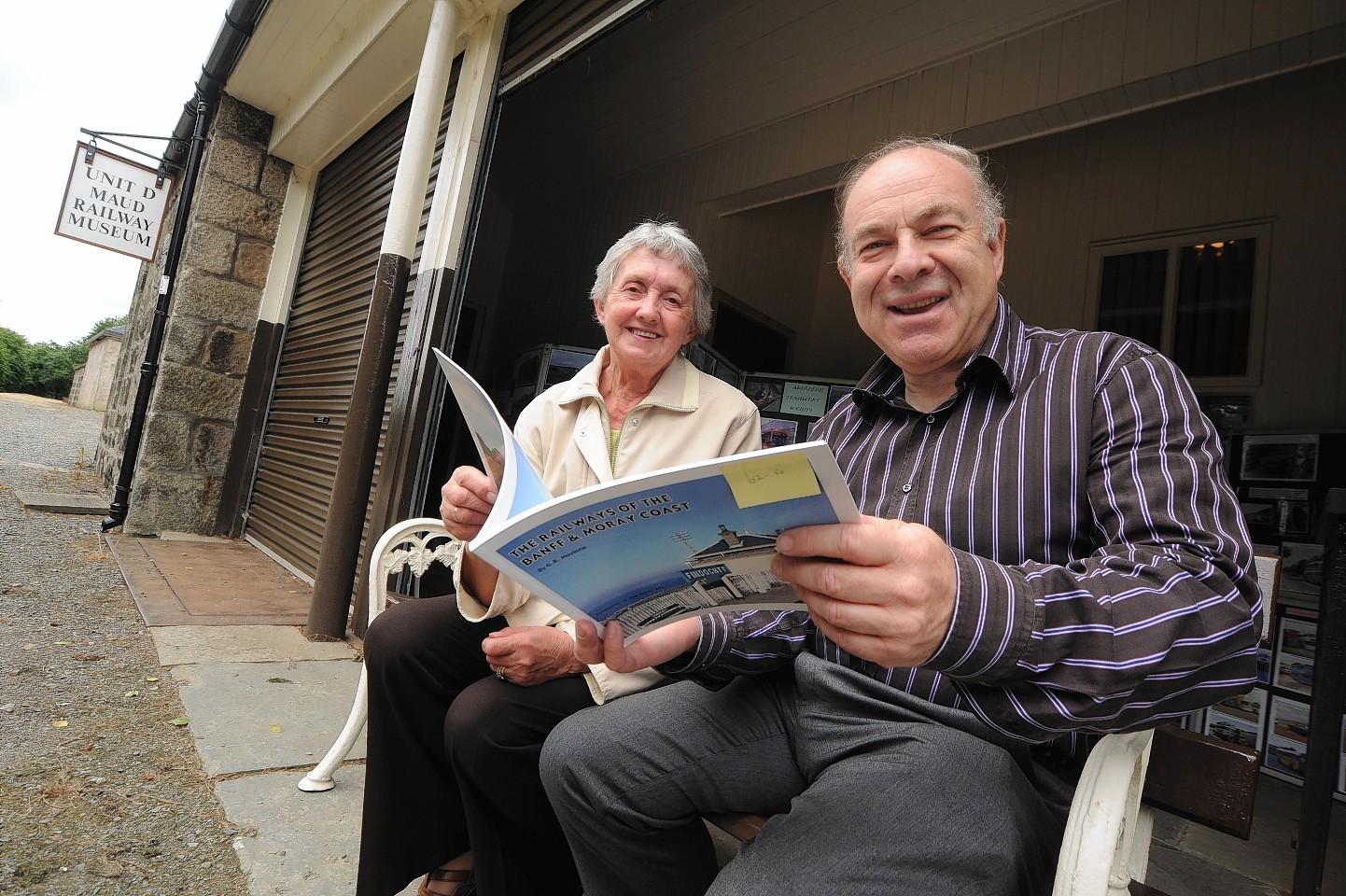 Railway museum volunteer Keith Jones with visitor Alice Duncan
