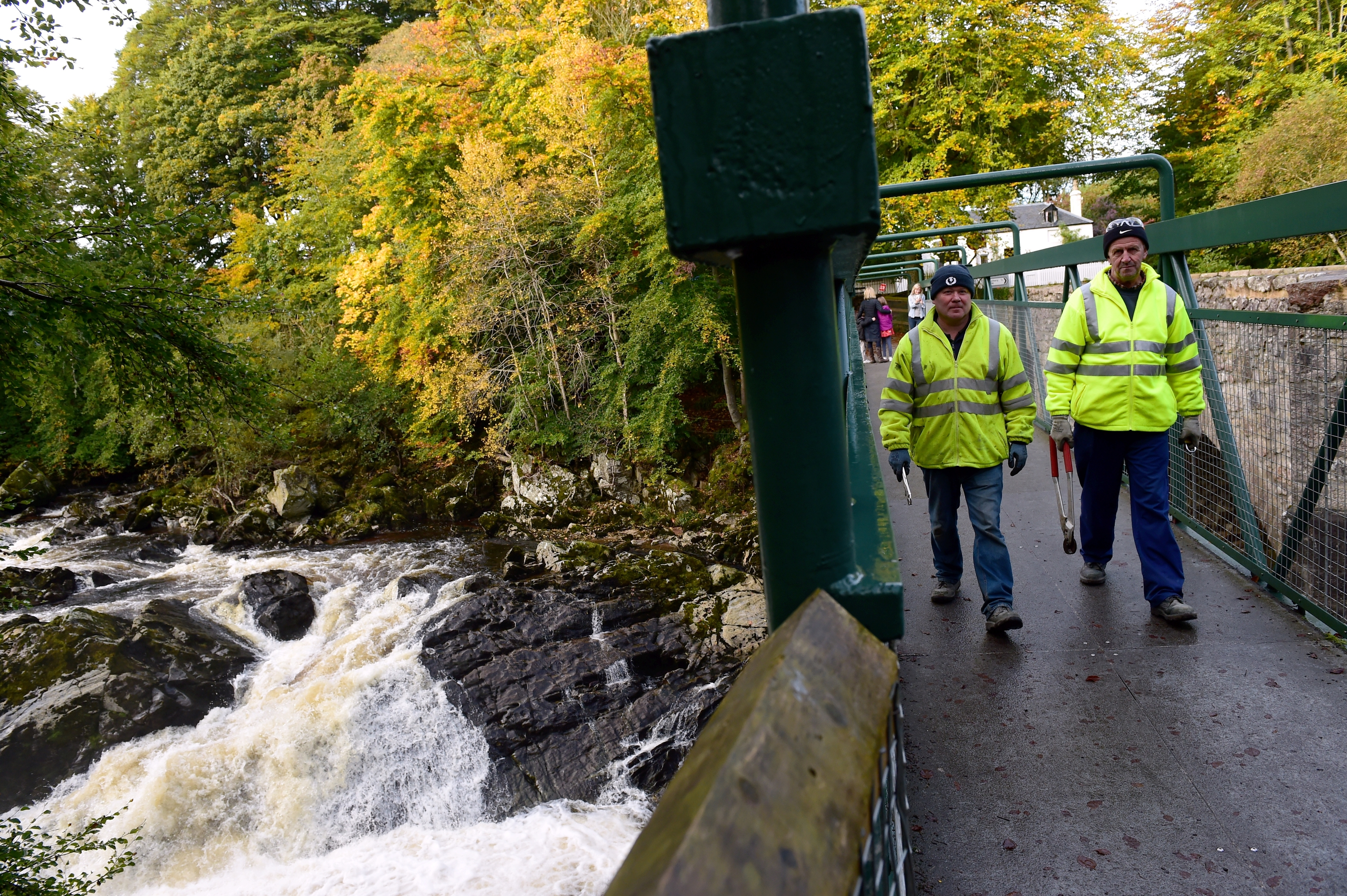 Aberdeenshire Council workers were removing the padlocks from the Falls of Feugh bridge over fears it may damage the structure and have erected a sculpture for people to take selfies instead.    Pictures by Kami Thomson