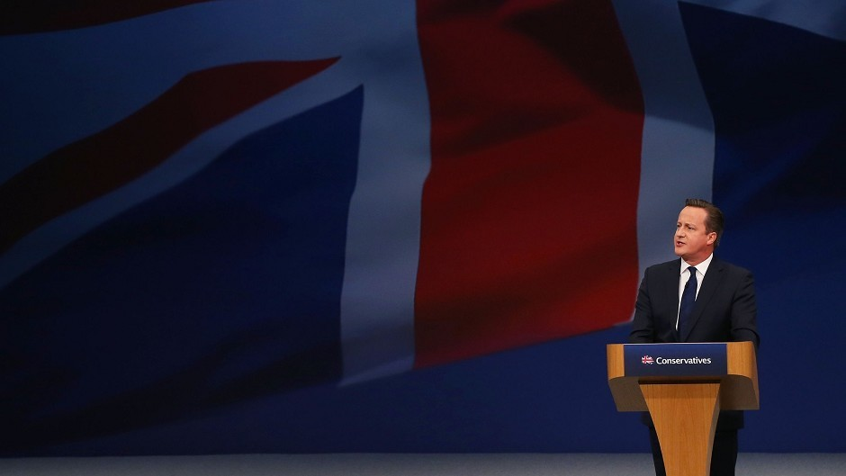 Prime Minister David Cameron addresses the Conservative Party conference at Manchester Central