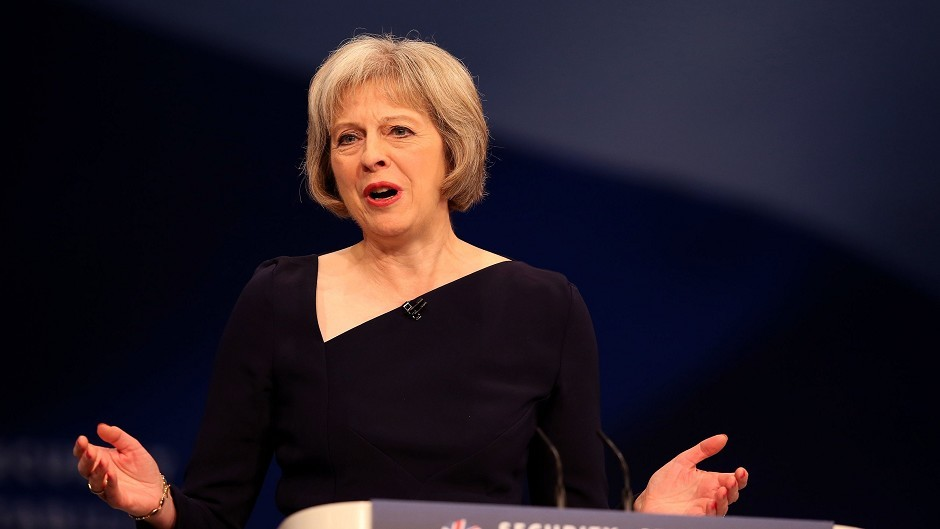 Home Secretary Theresa May delivers her speech to the Conservative Party conference at Manchester Central.