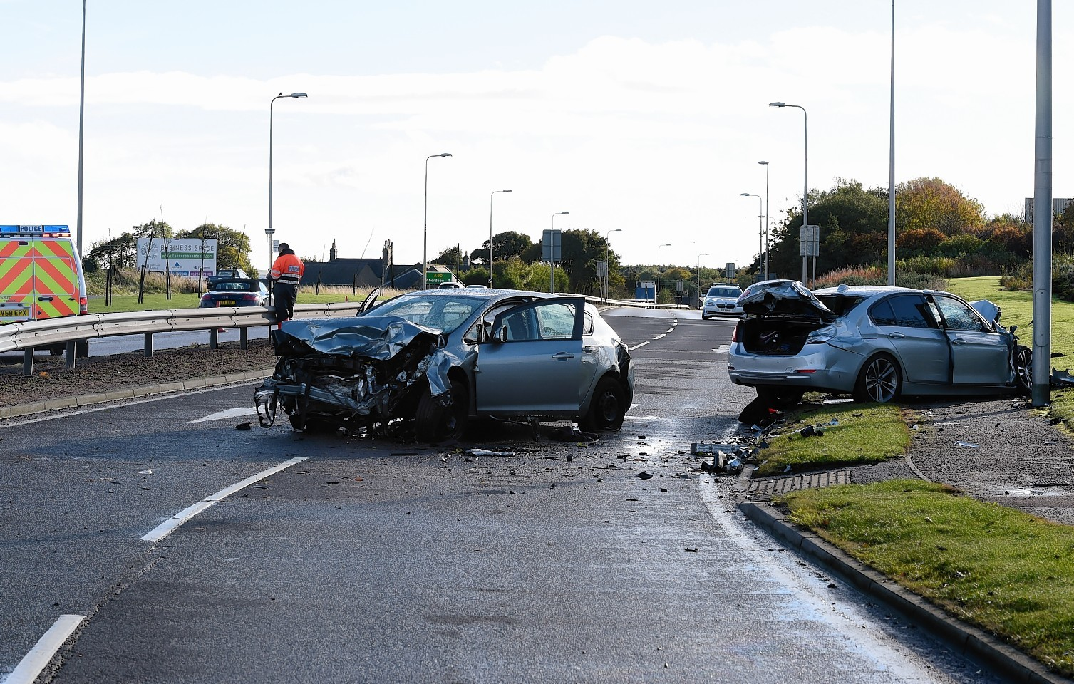 Two car RTC on the Northbound carraigeway of the A90 near the Murcar roundabout.      Picture by Kami Thomson    24-10-15