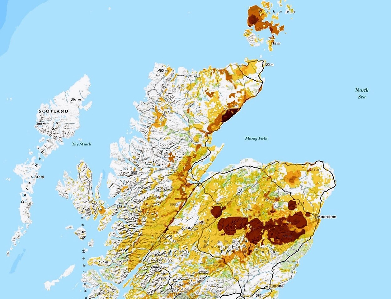 Radon Gas hot spots map in the north of Scotland