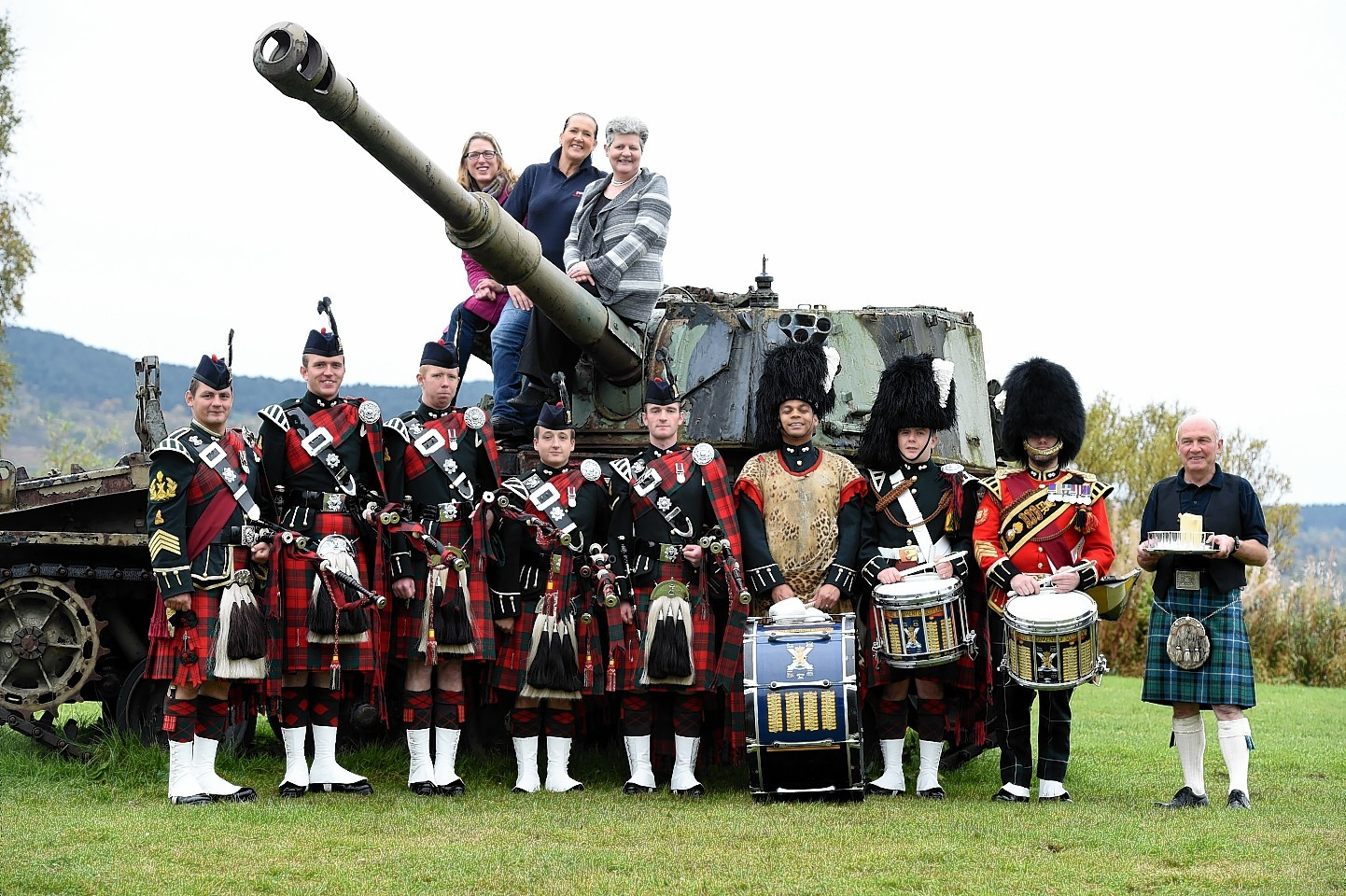 The Royal Highland Fusiliers playing a song written for the Queen at Deeside Activity Park, Dess, Aboyne.  Picture by Jim Irvine  18-10-15