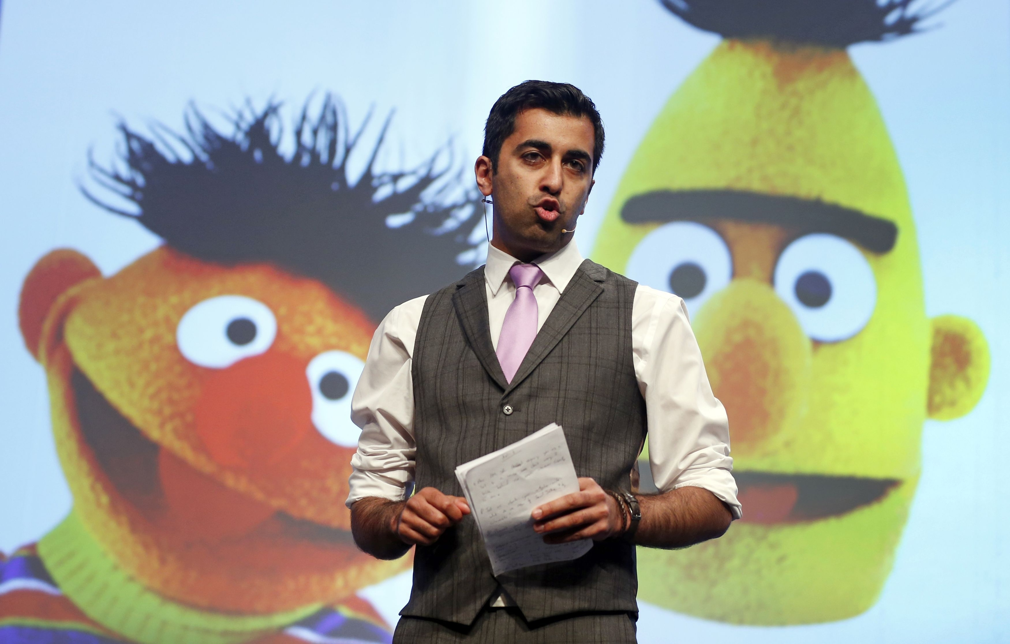 Humza Yousaf MSP during the SNP National conference at Aberdeen Exhibition and Conference Centre in Scotland.