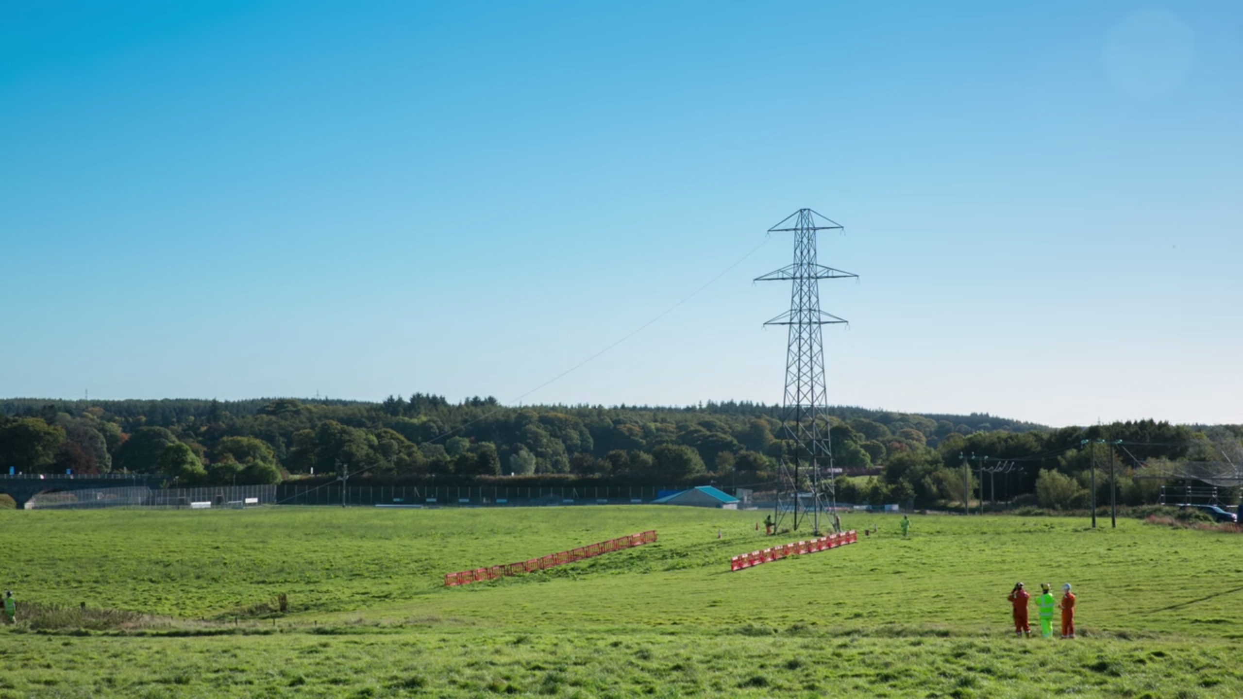 A pylon being removed as part of the AWPR project near Aberdeen