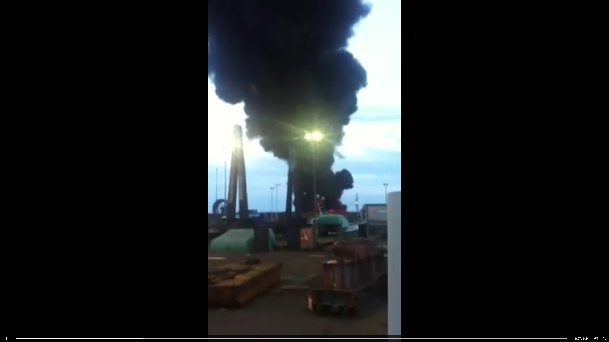 The blaze at Peterhead Harbour