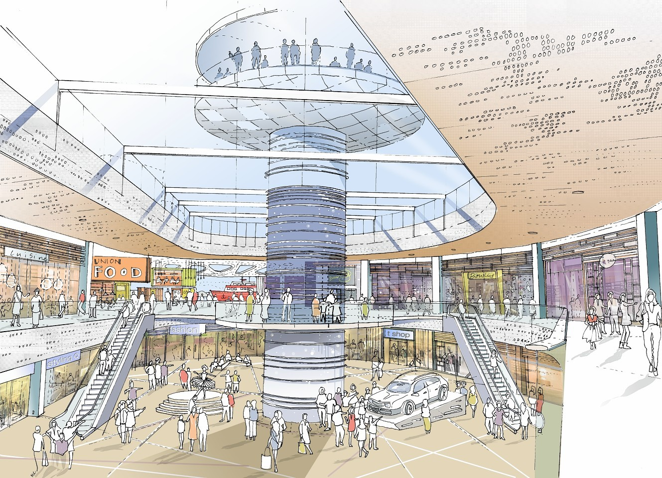 Artist impression of the planned revamp of Aberdeen's Union Square. This image shows a proposed indoor area including an atrium and observation tower