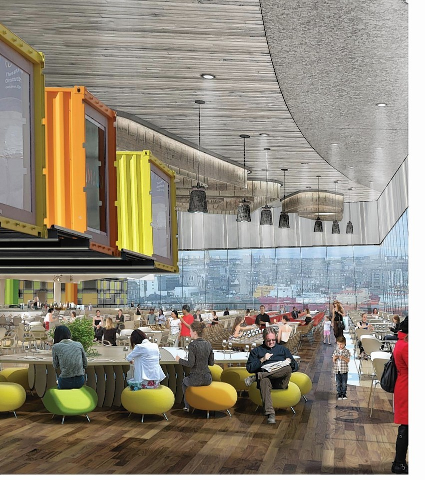 This image shows an proposed food court