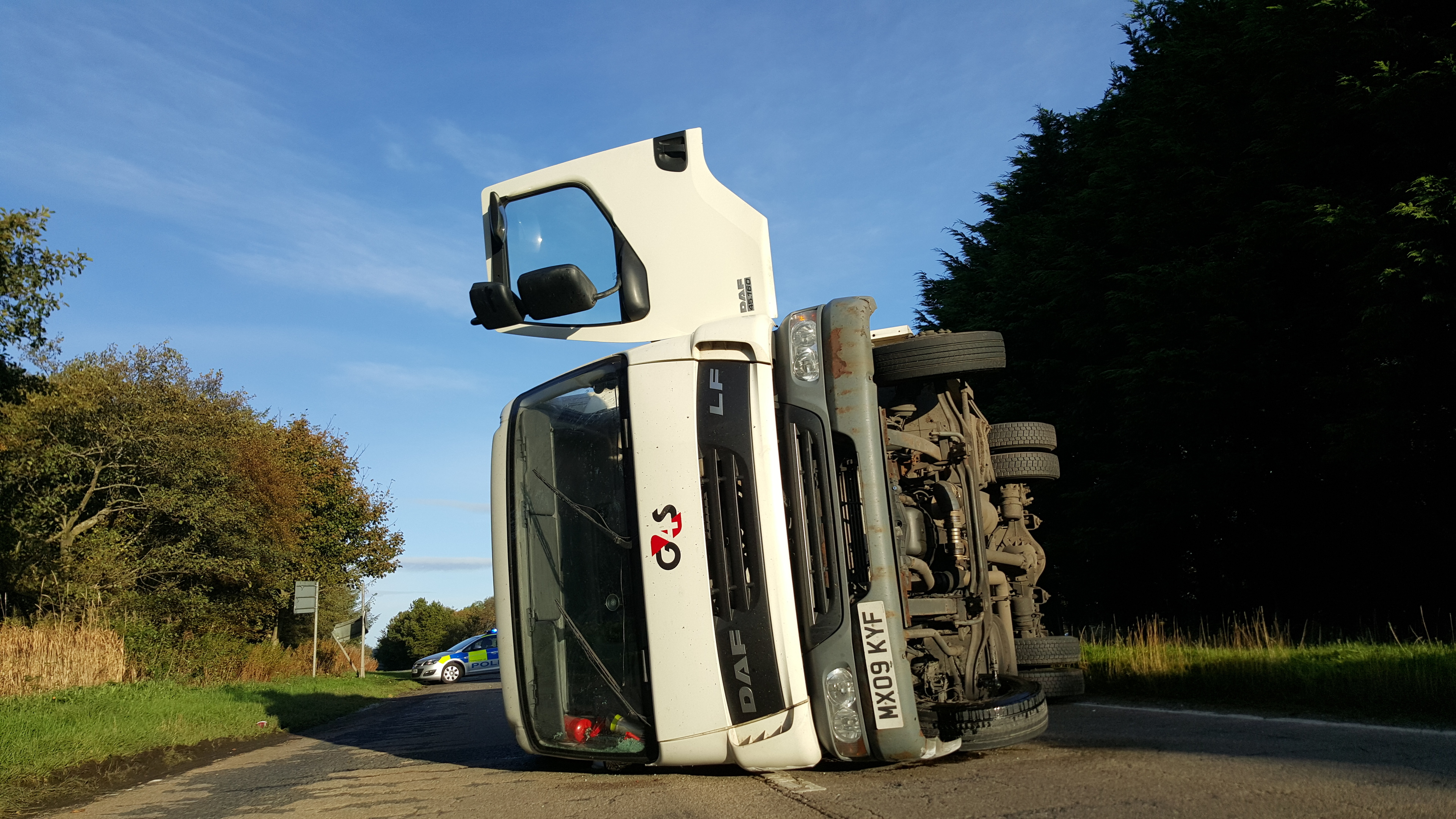 The overturned G4s vehicle