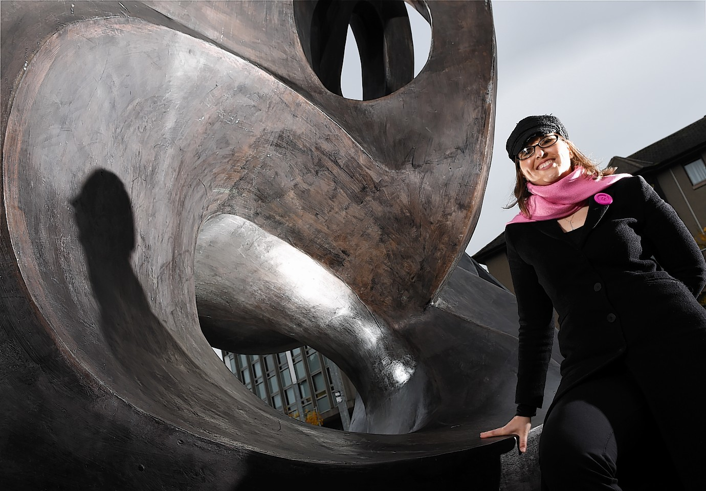 Amy Bryzgel, lecturer in film and visual culture, at the Evolutionary Loop sculpture at Aberdeen University (Kevin Emslie)