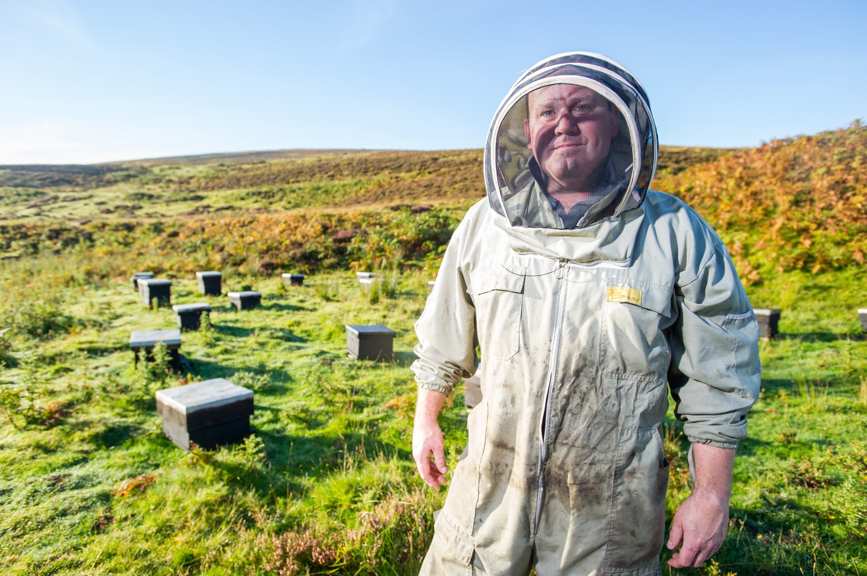 Stuart Hood, who keeps a number of Bee Hives on the Hopes Estate, near Duns
