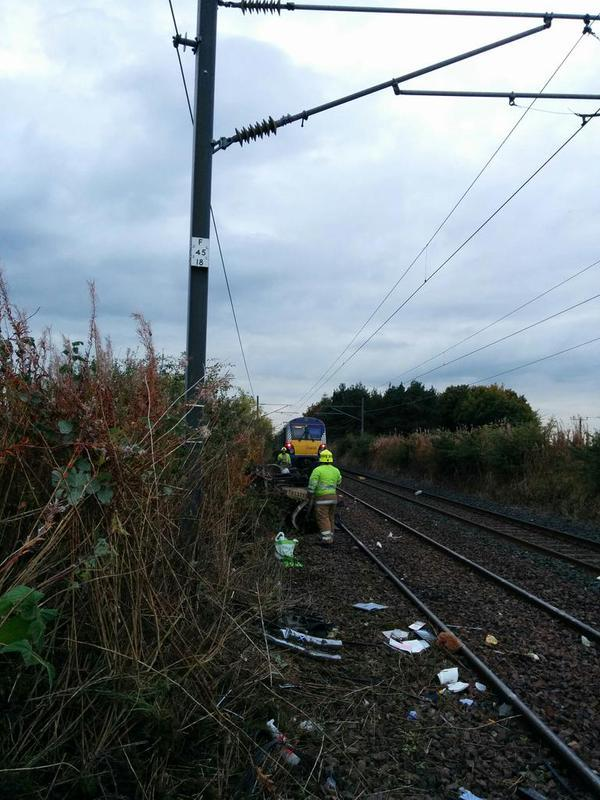 A train has collided with a vehicle on the tracks. Picture credit twitter use Ondrej Muskat.