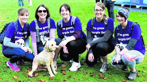 Grace Harrison, Linda Speers with dog Hurley, Kathryn Roberts, Rebecca Kerr and Claire McArthur
