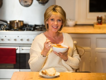 Ruth Langsford with a bowl of Heinz soup