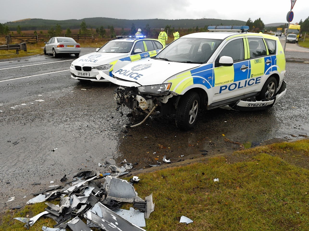 The police car after the crash on the A9 at Carrbridge