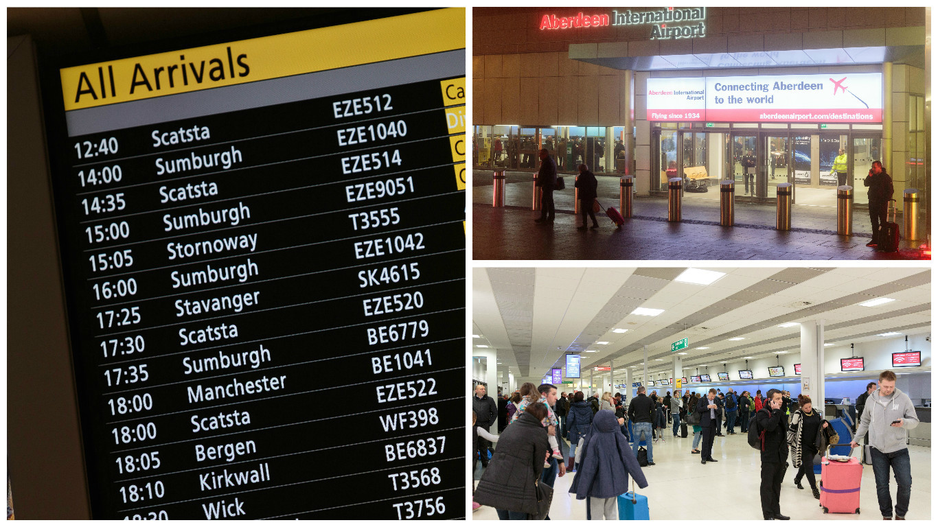 Passengers were left stranded at Aberdeen Airport last night and tonight