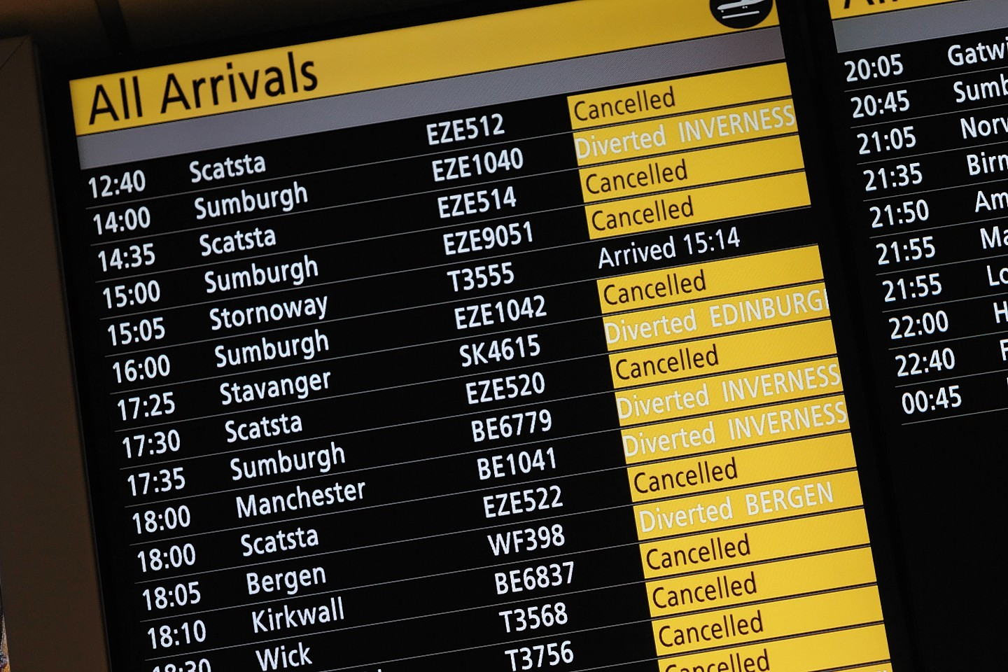 Boards at Aberdeen Airport show the lengthy list list of cancellations