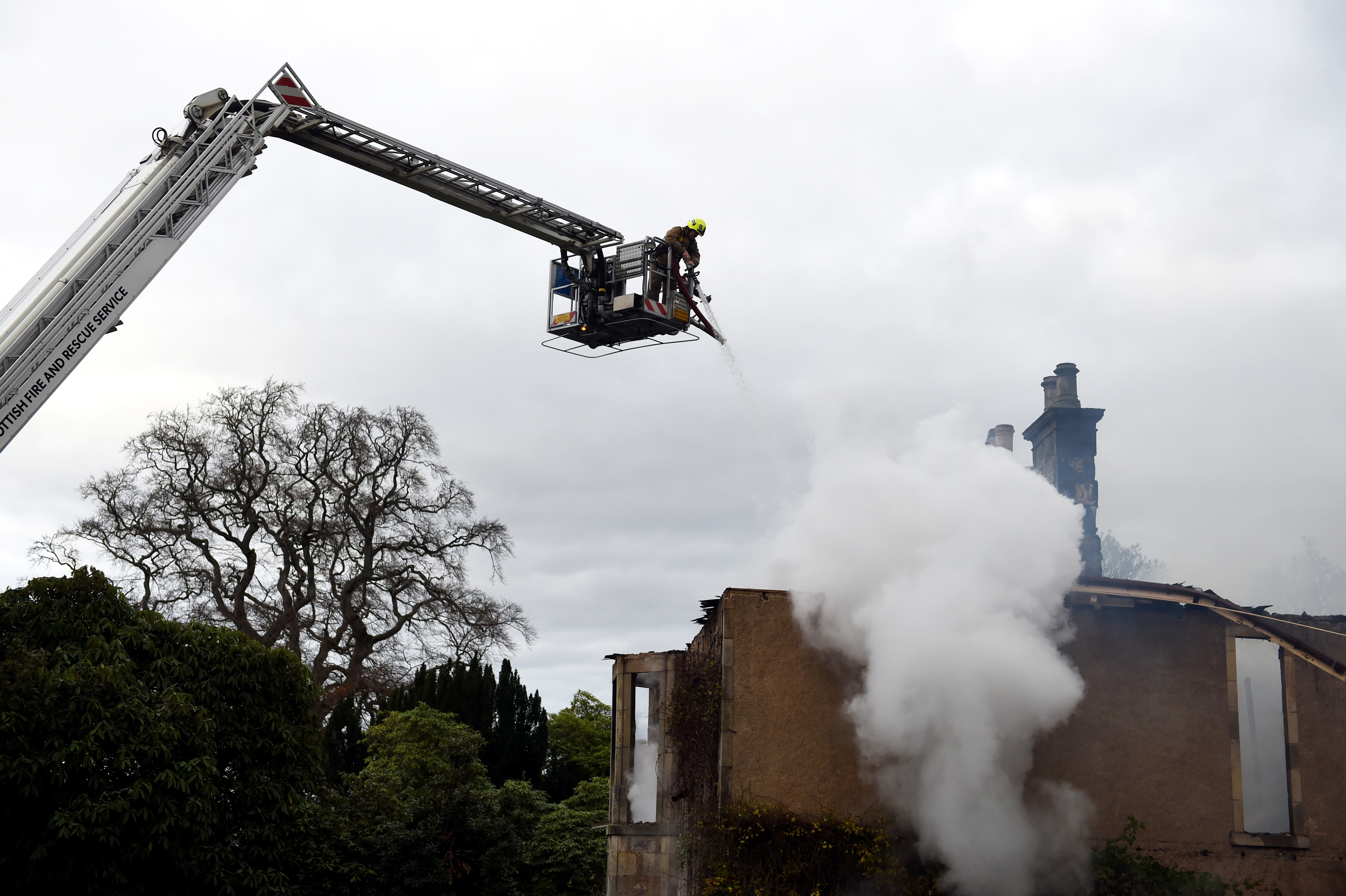 Blackhills House, near Elgin, being damped down by firefighters