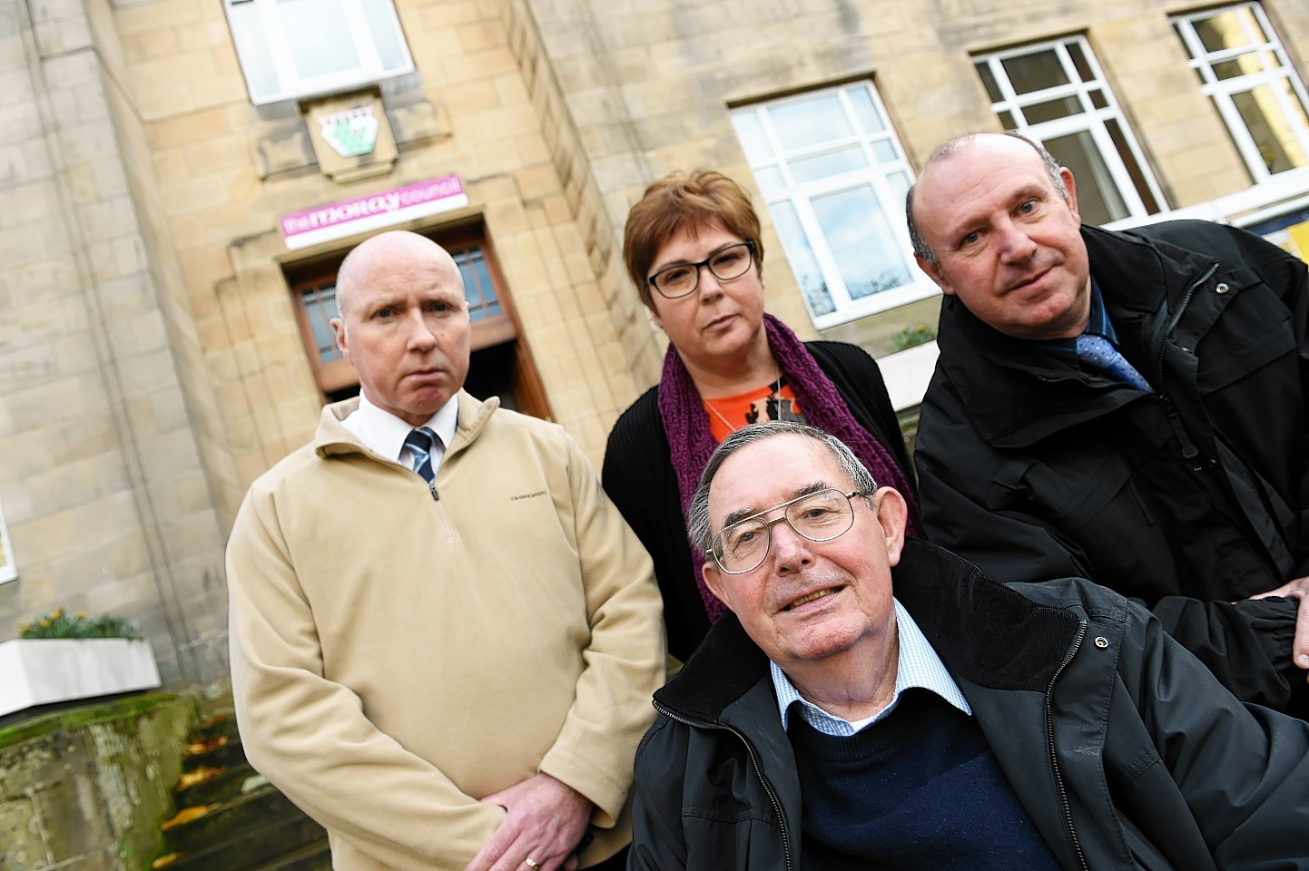 John Lally, Gillian Priestley, Robert Murdoch and Paul Brown outside Moray Council HQ. Picture by Gordon Lennox