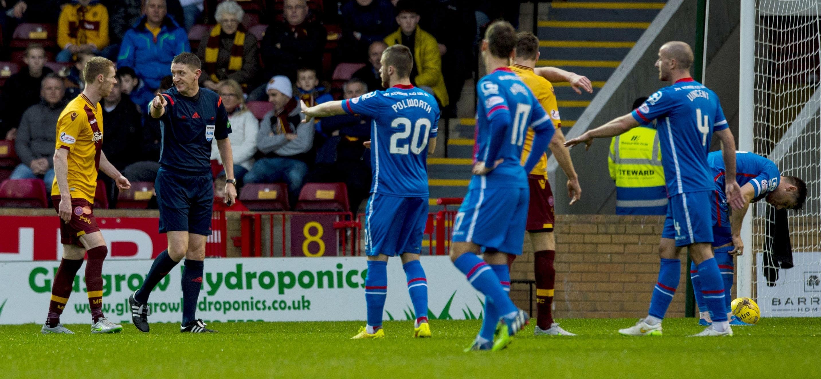 Referee Craig Thompson makes ICT retake their missed penalty.