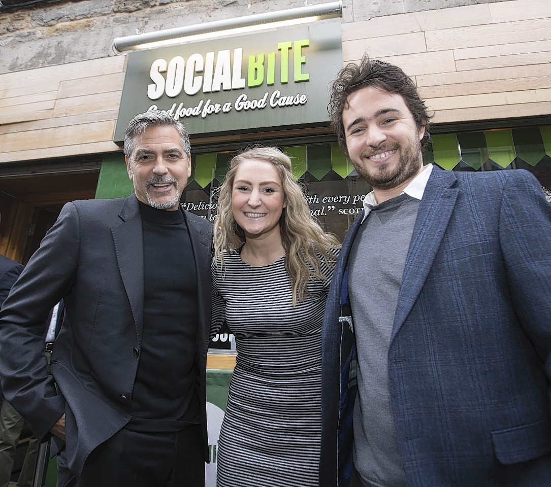 George Clooney during a visit to Social Bite sandwich shop