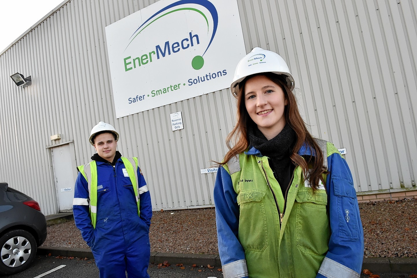 EnerMech apprentices Callum Innes and Katrina Innes. Picture by Colin Rennie