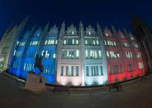 Marischal College lit up in Paris tribute. Picture by Norman Adams