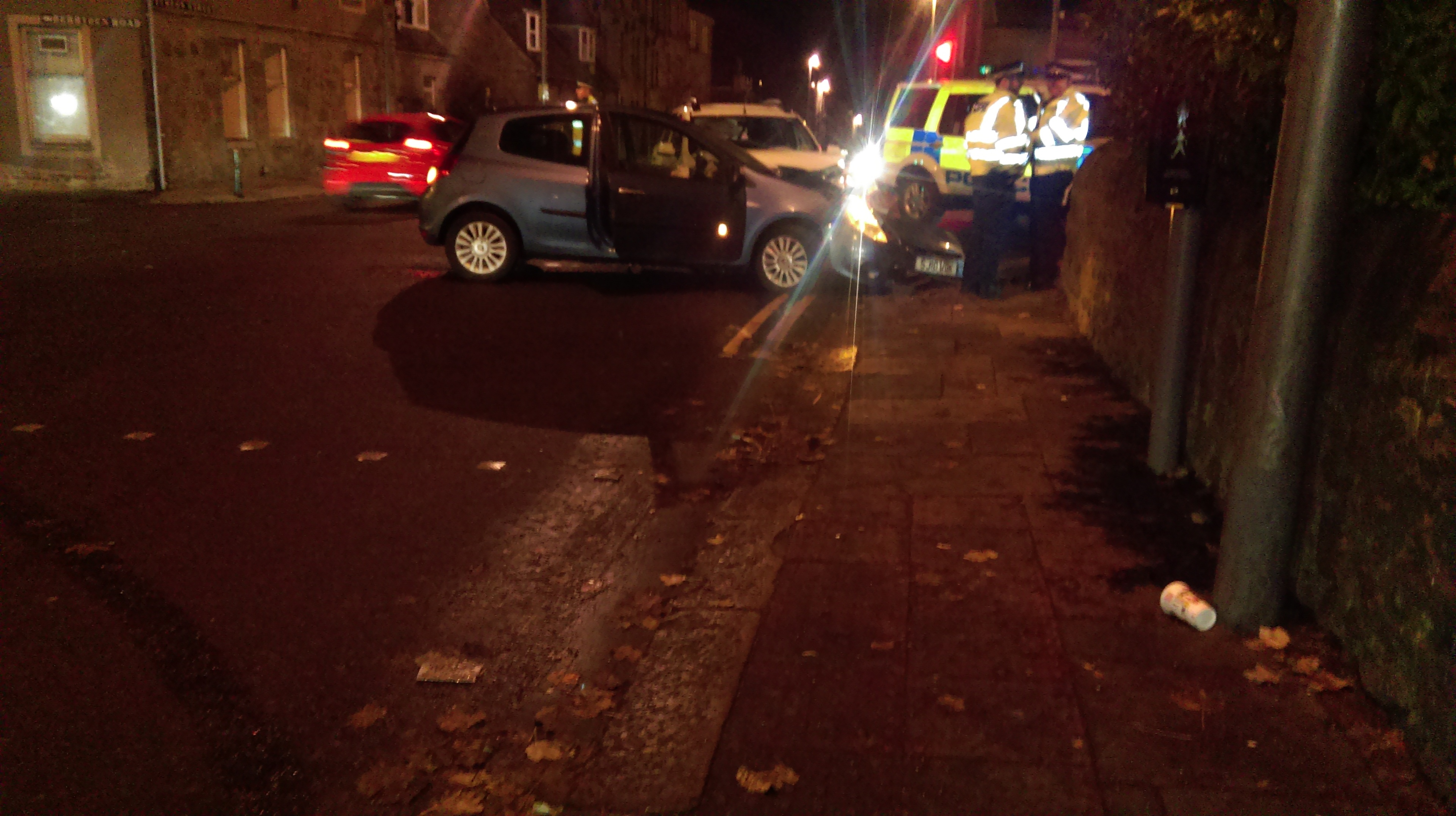 Police at the scene of the crash at Berryden in Aberdeen