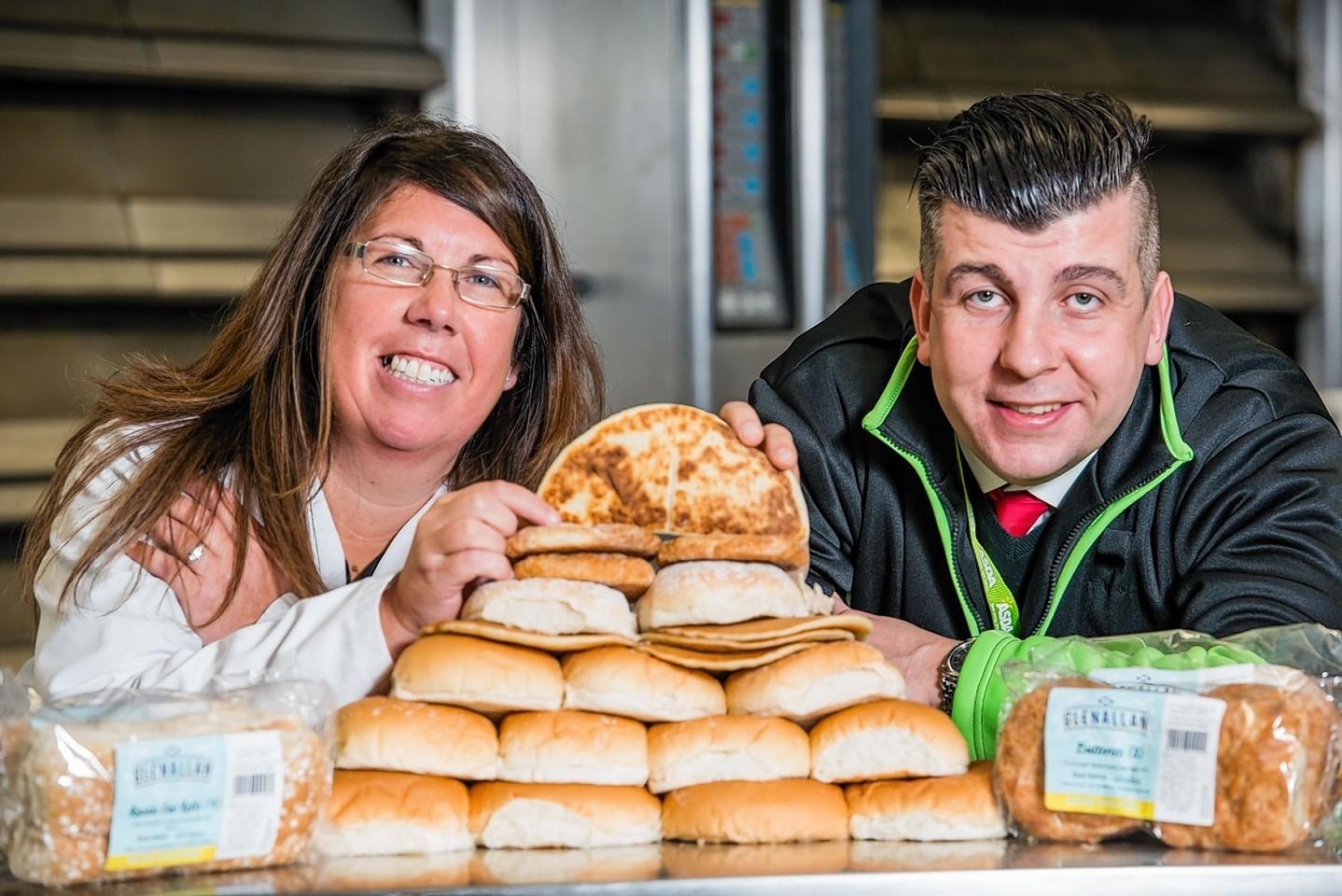 Asda Regional Buyer Brian O'Shea with Katrina Allan of Murdoch Allan Bakery