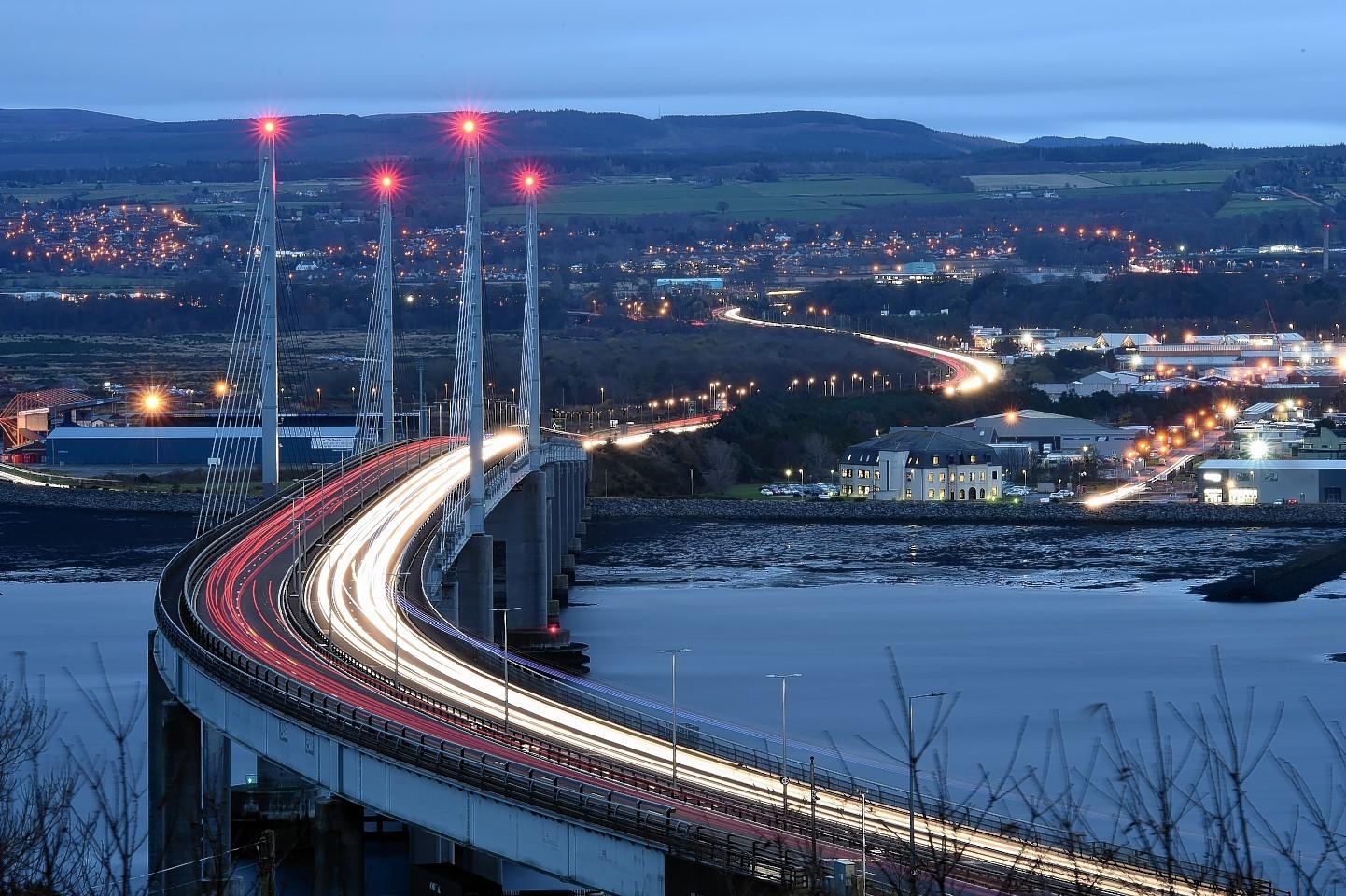 Traffic on the Kessock Bridge in Inverness.