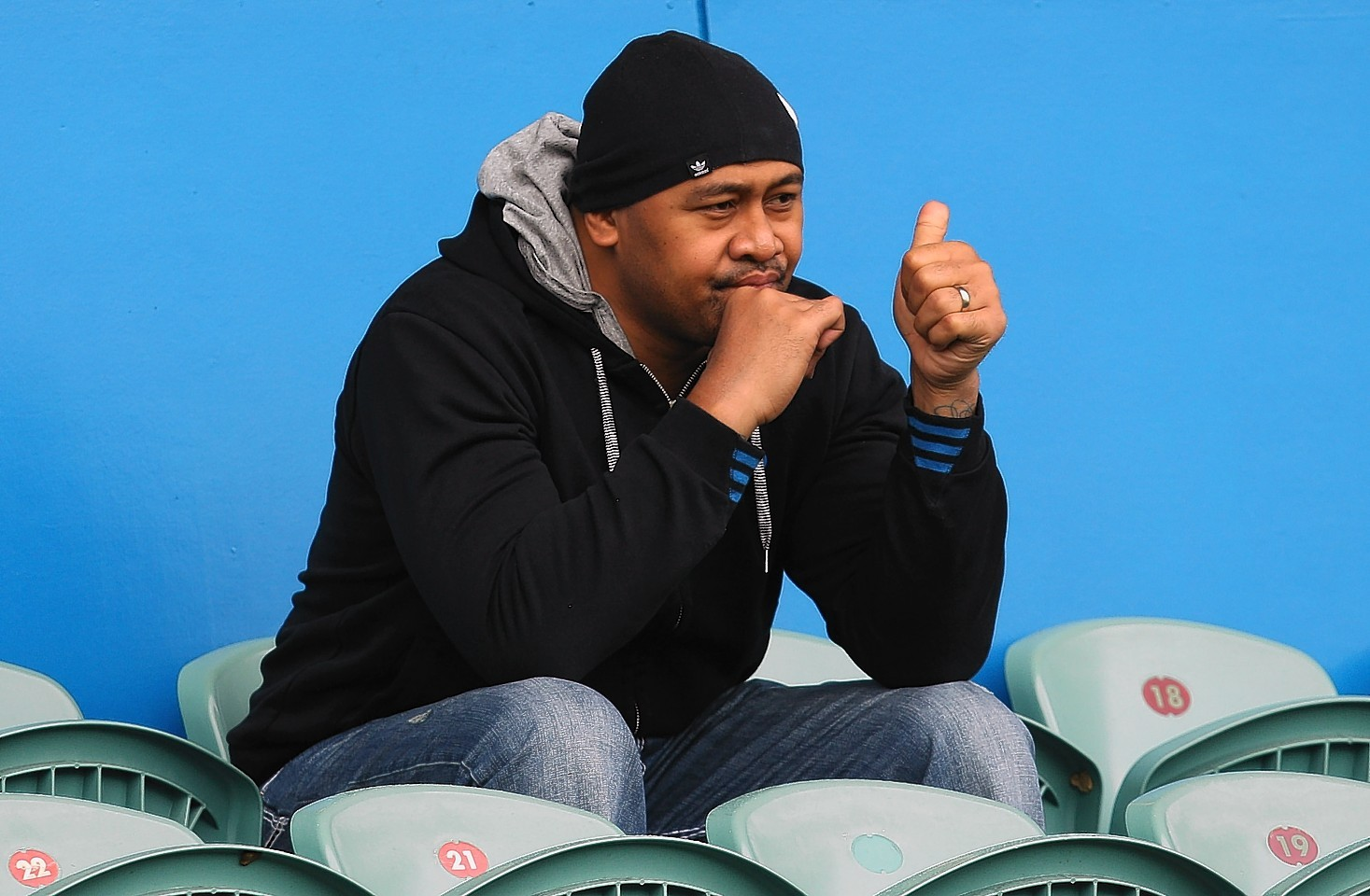 Lomu watches the All Blacks from the stands in 2011