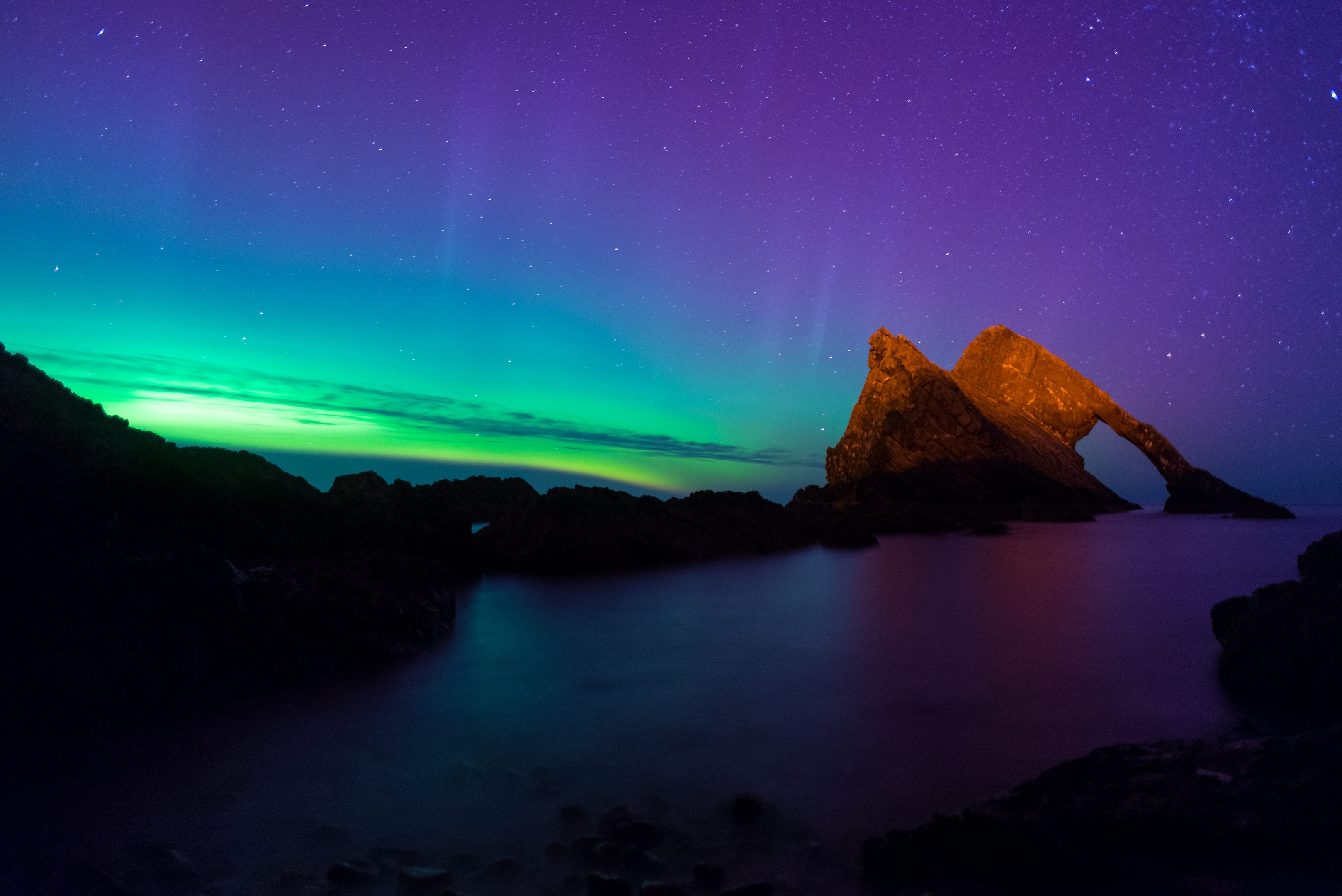 Stunning Aurora seen in Portknockie, Scotland, by Fancis Masson. See Ross Parry copy RPYAURORA:  Space weather forecasters predicted strong showing of the Aurora on Tuesday. The predicted global geomagnetic activity could have reached reached as high as kp6 overnight, meaning parts of northern UK could see the aurora activity.
