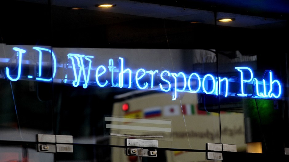 JD Wetherspoon received a top rating of five at more than 93 per cent of bars