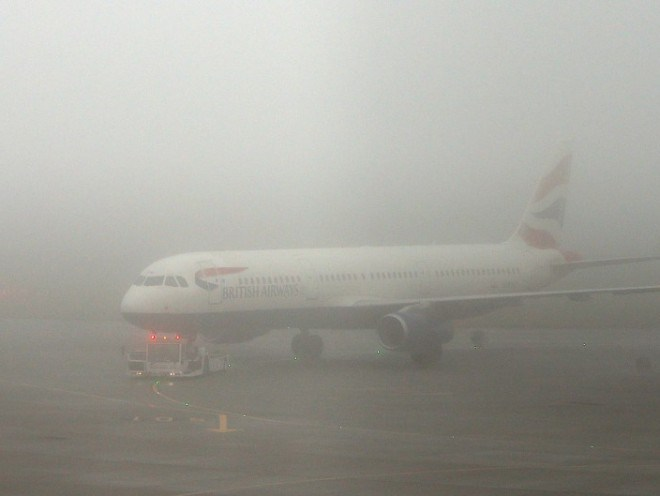 A British Airways plane in last night's foggy conditions