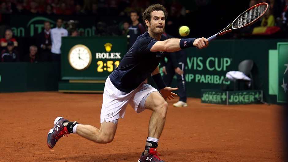 Great Britain's Andy Murray in action during day three of the Davis Cup Final at the Flanders Expo Centre, Ghent