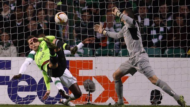 Ajax's Arkadiusz Milik scores his sides first goal during the UEFA Europa League match at Celtic Park