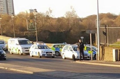 Police at the scene at Bridge of Don. Picture submitted by reader