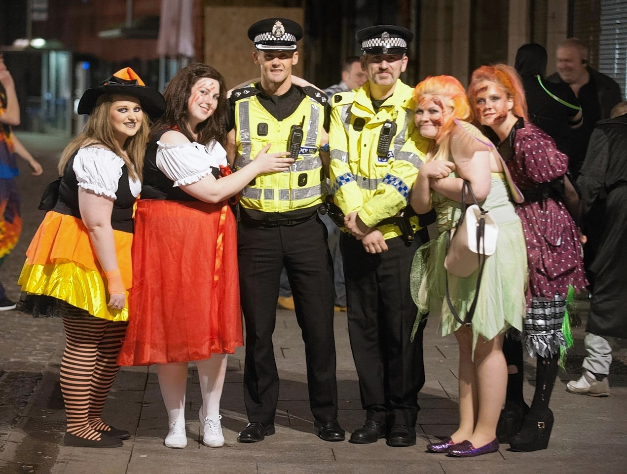 Police in Peterhead on one of their busiest nights of the year