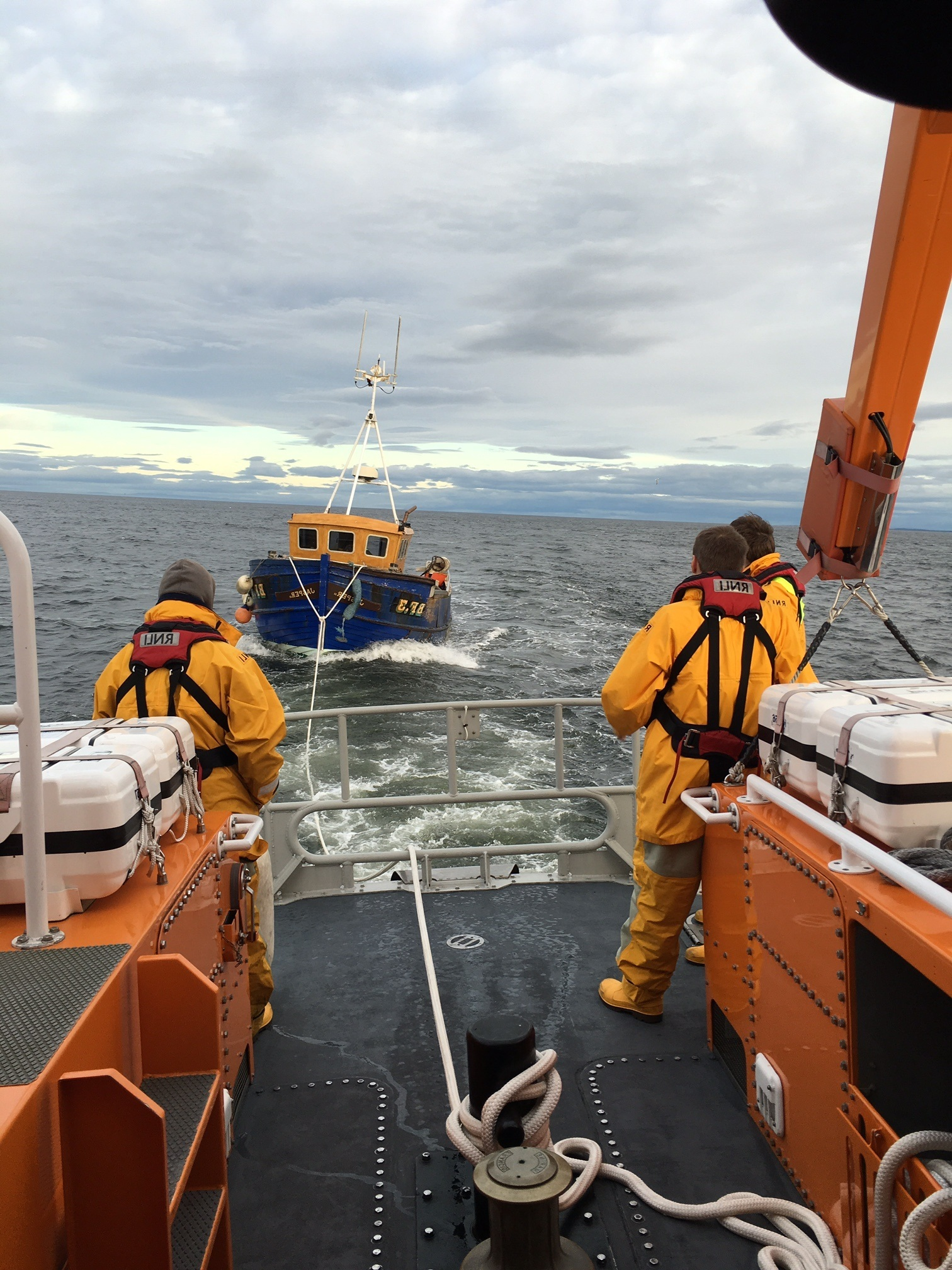 Buckie lifeboat towing The Jasper to shore, pic provided by the RNLI